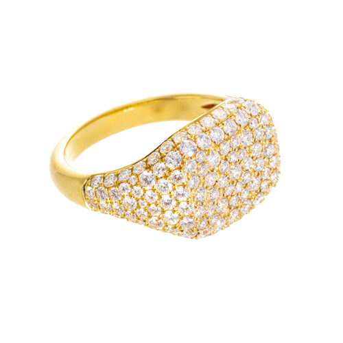 18k Yellow Gold Diamond Pave Ring