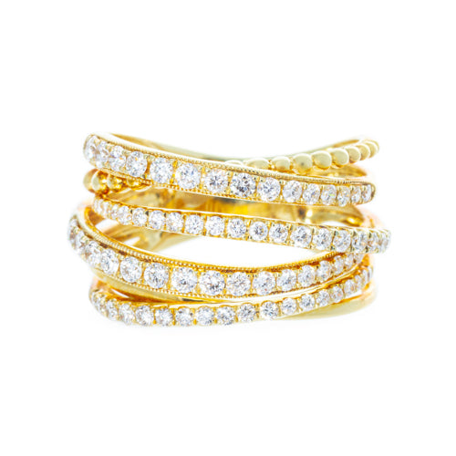 14 karat Yellow Gold Criss Cross Diamond Band