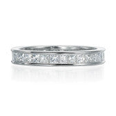 Platinum and Diamond Carre Cut Eternity Band