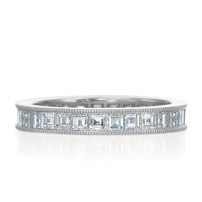 18k White Gold and Diamond Carre Cut Diamond Band.