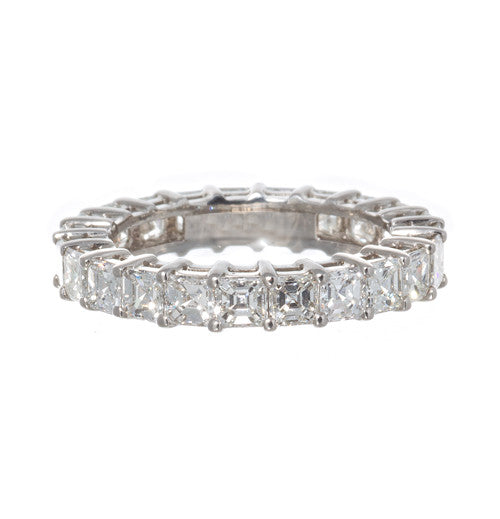 Platinum Asscher Cut Diamond Band
