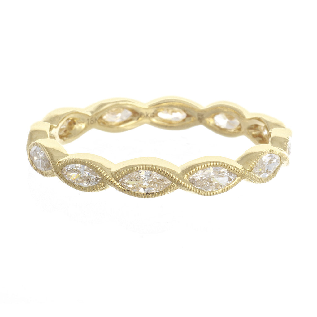 18kt Yellow Gold Marquise Diamond Band