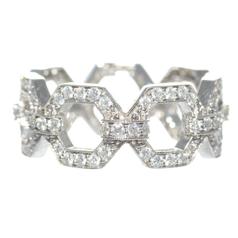 Penny Preville 18K White Gold & Diamond Octagon Band