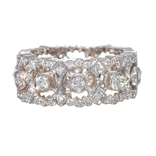 18 Karat White Gold and Diamond Italian Ring