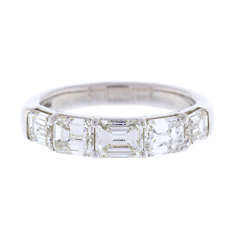 Platinum and Diamond 5 Stone Emerald Cut Band