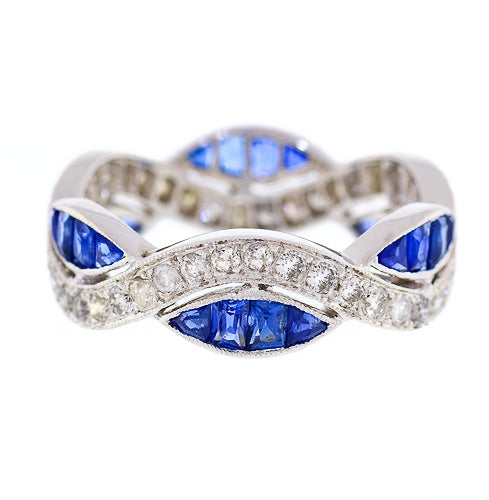 18kt White Gold Estate Sapphire and Diamond Infinity Band