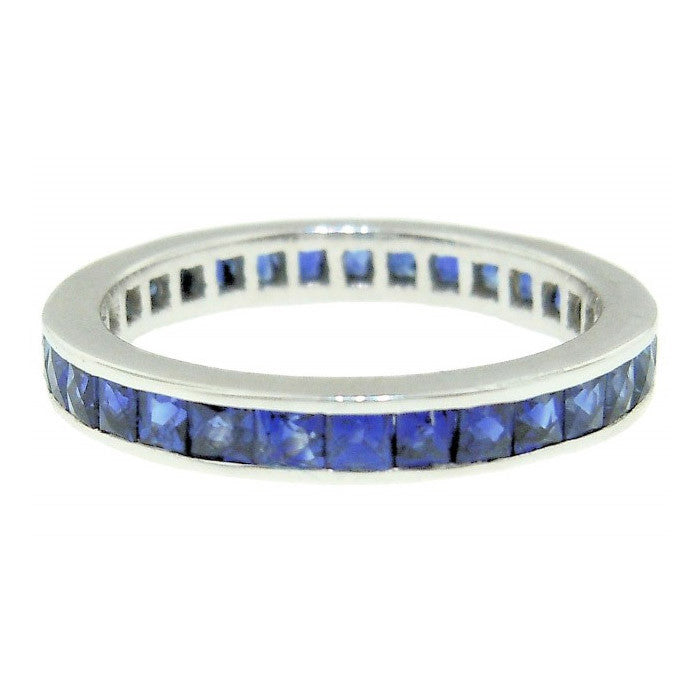 Platinum Channel Set Sapphire Eternity Band