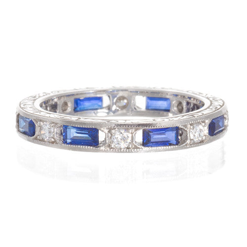 Platinum Sapphire and Diamond Band