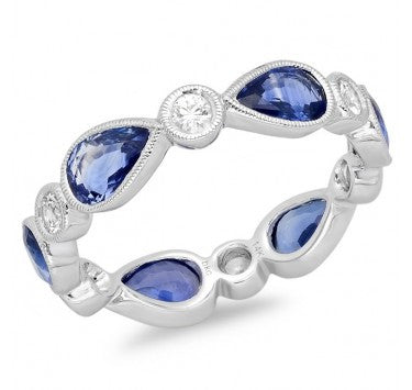 18kt White Gold Eternity Band with White and Blue Sapphire