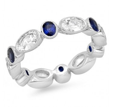 18kt White Gold Eternity Band with White and Blue Sapphires