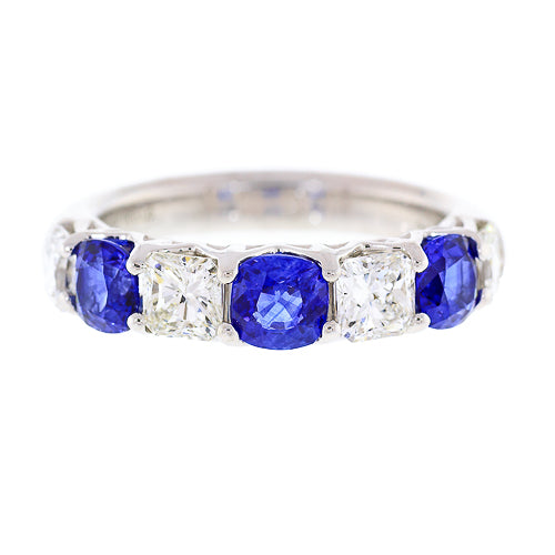 Radiant Diamond and Round Sapphire Shared Prong Ring