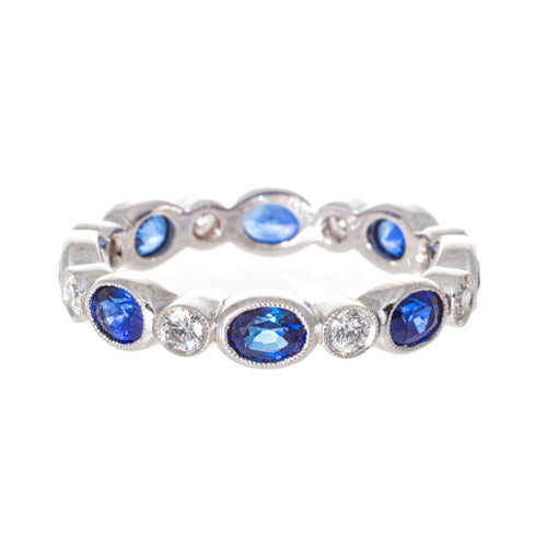 Art Deco Eternity Platinum Round Diamond and Oval Sapphire Band