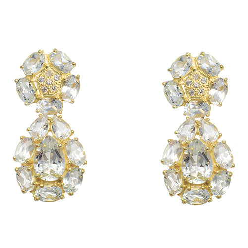 14 Karat Yellow Gold Crystal and Diamond Dangle Earrings Diamonds