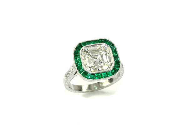 Colored Stones - Asscher Cut Diamond and Emerald Ring