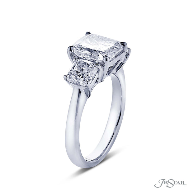 JB Star Three Stone Platinum Diamond Engagement Ring