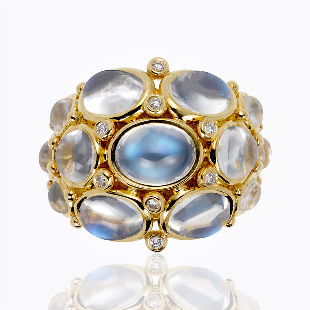 Temple St. Clair 18k Yellow Gold Bombe Ring with Royal Blue Moonstone and Diamond