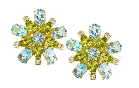 14k Yellow Gold Peridot, Blue Topaz and Diamond Earring