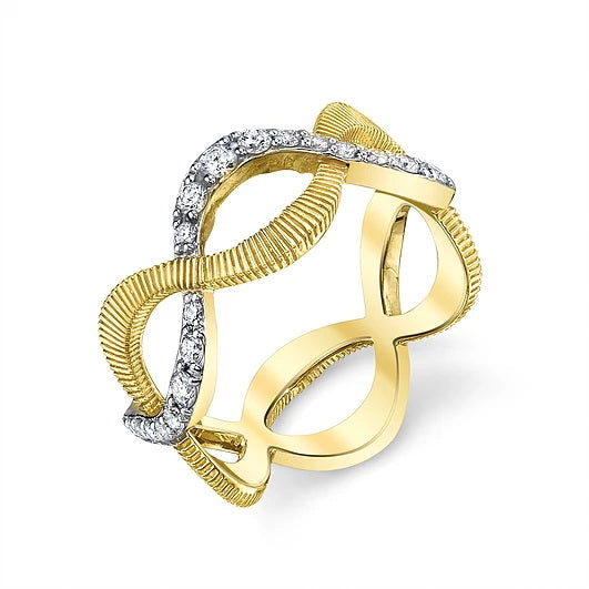 Sloane Street 18 karat Yellow Gold Braided Diamond Eternity Band