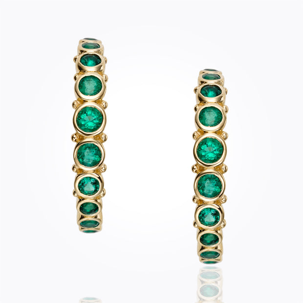 Temple St. Clair 18k Yellow Gold Emerald Eternity Hoops