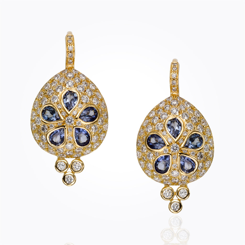 Temple St. Clair 18K Sea Biscuit Earrings with Blue Sapphire and Diamond Pavé