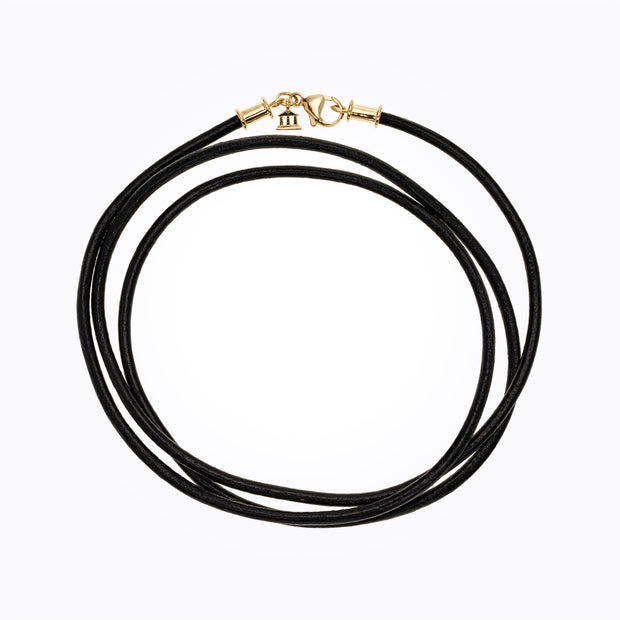 Temple St. Clair 18k Yellow Gold Black Leather Cord