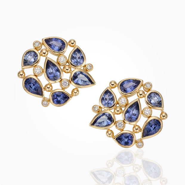 Temple St. Clair 18k Yellow Gold Sapphire and Diamond Studs