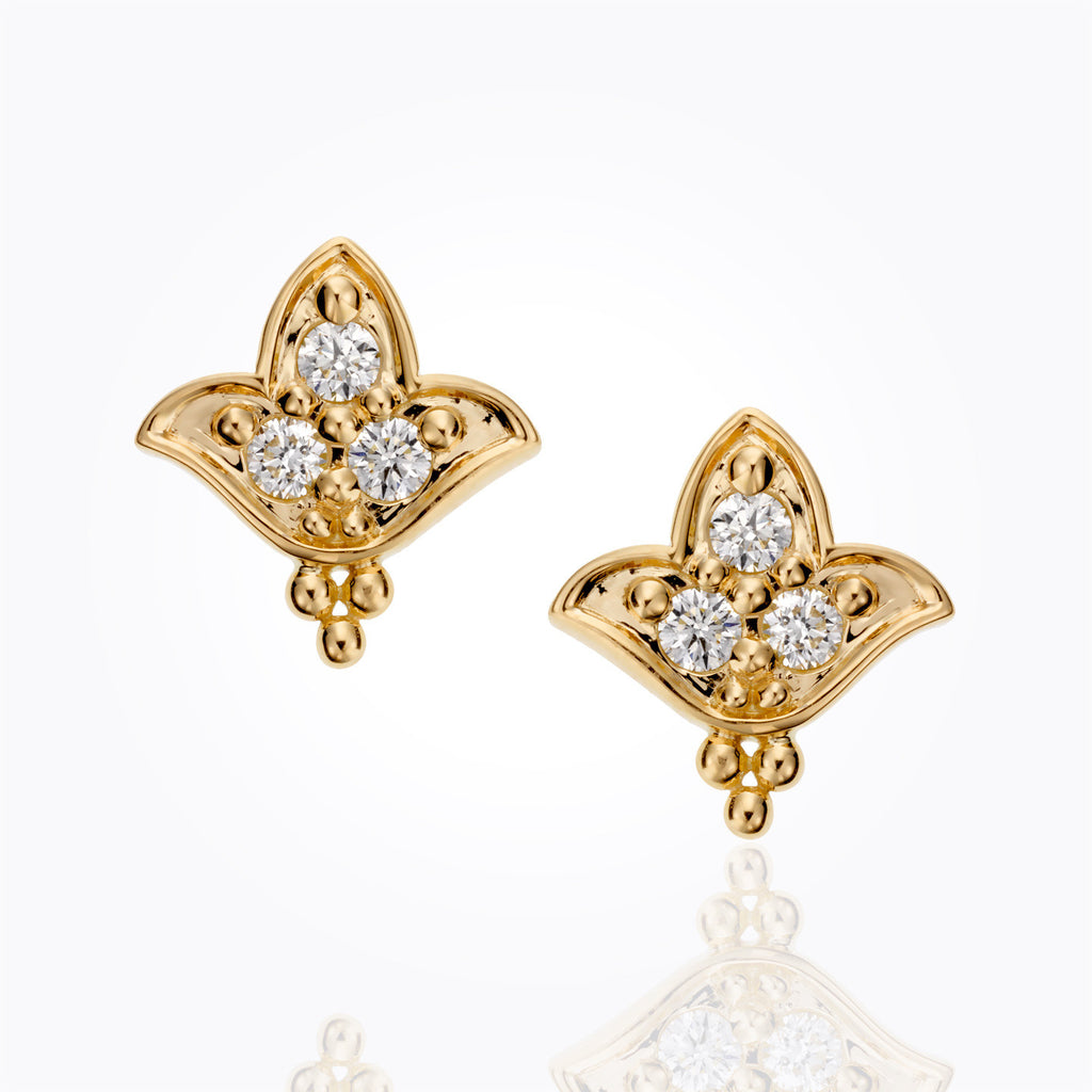Temple St. Clair 18K Lotus Diamond Post Earrings