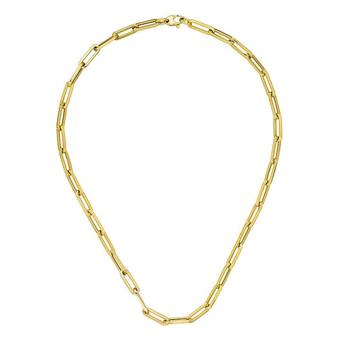 14k Yellow Gold Elongated Long Link Necklace