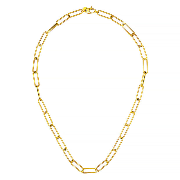 14k Yellow Gold Elongated Link Necklace