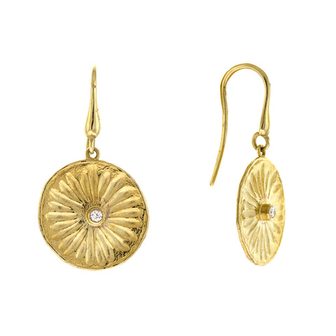 14k Yellow Gold Flower Diamond Drops
