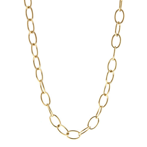 14k Yellow Gold Oval Link Necklace