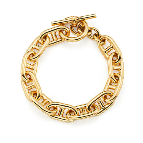 14k Yellow Gold Oval Link Toggle Bracelet