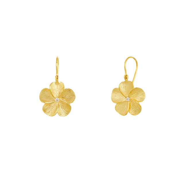 14k Yellow Gold Diamond Flower Drops