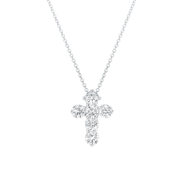 White Gold Diamond Cross Necklace