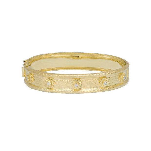 14k Yellow Gold Hammered Diamond Bangle