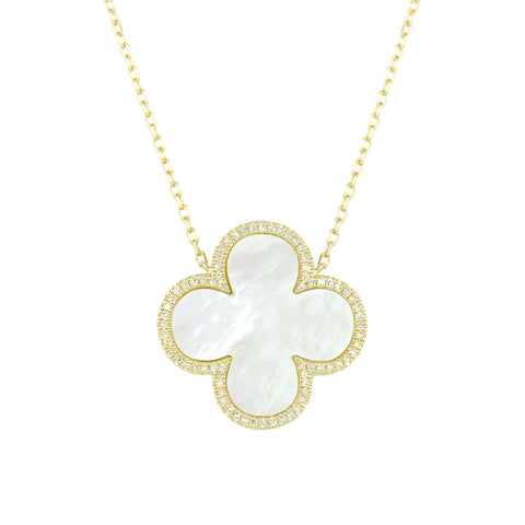 14k Yellow Gold Diamond and Mother of Pearl Clover Necklace