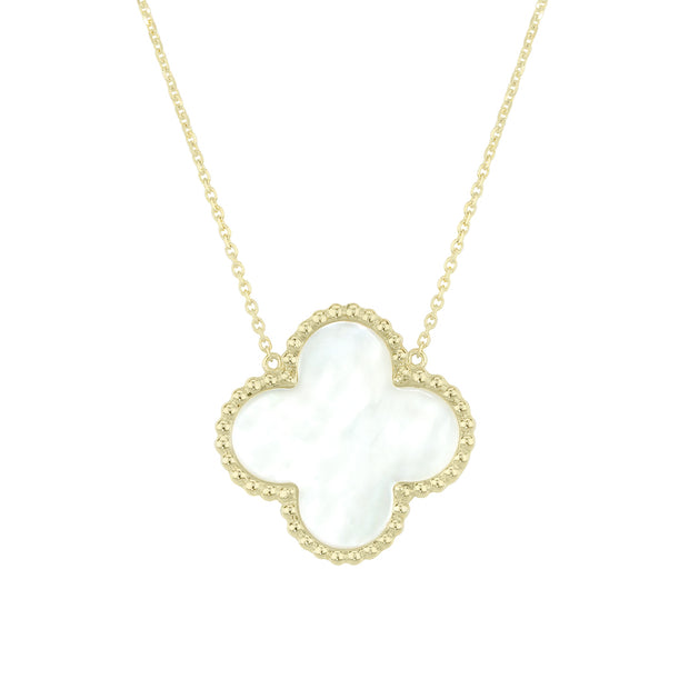 14k Yellow Gold Mother of Pearl Clover Necklace