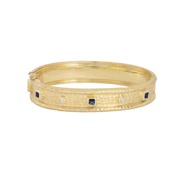 14k Yellow Gold Hammered Sapphire and Diamond Bangle