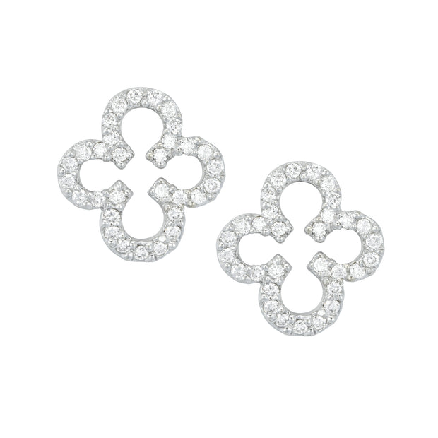 14k White Gold Clover Diamond Studs