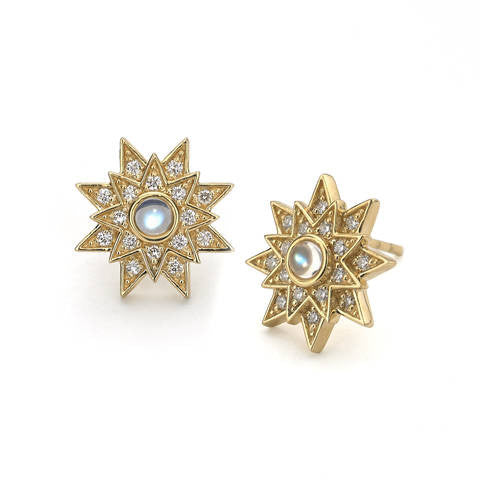 Katie Decker 18kt Yellow Gold Star Stud Earring with Moonstone and Diamonds