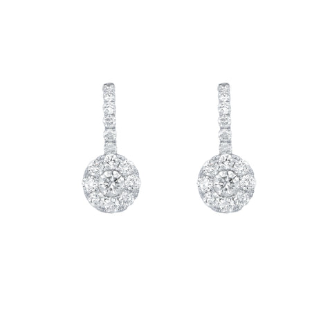 18k White Gold Diamond Halo Drops