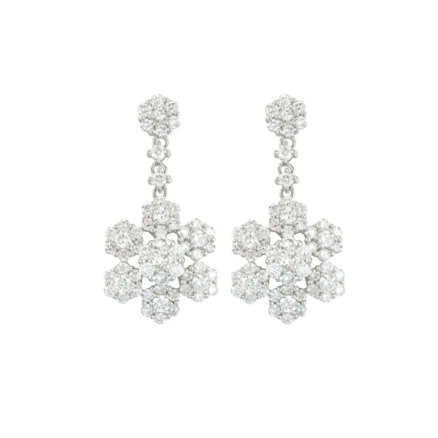 14k White Gold Flower Drops