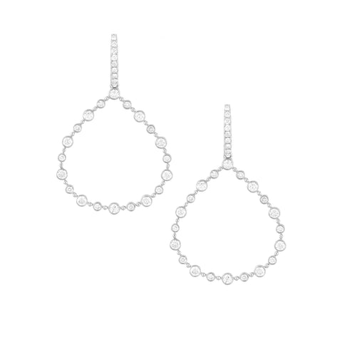 14k White Gold Diamond Drops