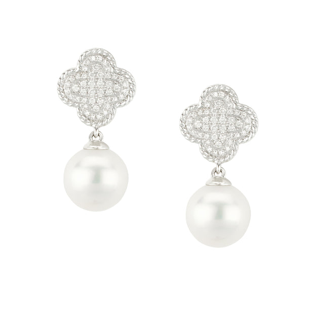 14k White Gold Pearl and Diamond Drops