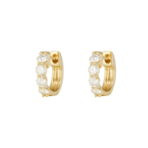 14k Yellow Gold Diamond Huggies