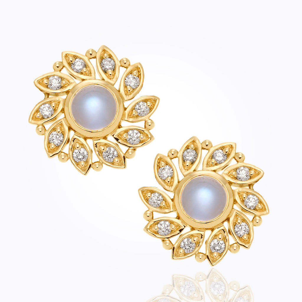 Temple St. Clair 18K Sole Earrings with Royal Blue Moonstone and Diamond