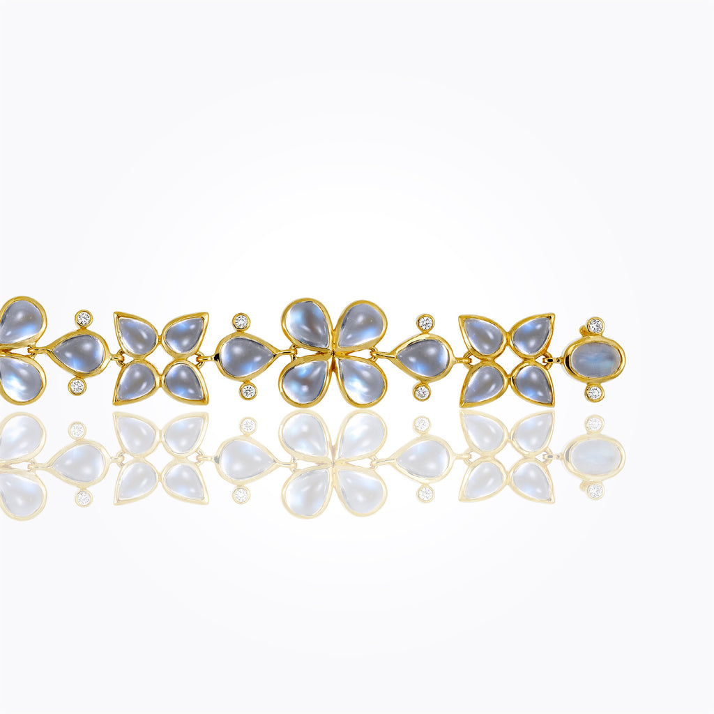 Temple St. Clair 18K Flower Cluster Bracelet with Royal Blue Moonstone and Diamond