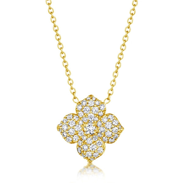 Penny Preville 18 Karat Yellow Gold and Diamond Flower Necklace