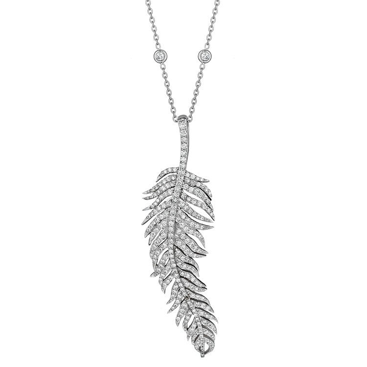 Penny Preville 18kt White Gold Large Feather Diamond Pendant