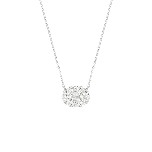 14k White Gold Diamond Oval Illusion Necklace